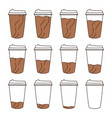 isolated set 12 paper cups for coffee with a vector image vector image