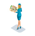 isometry stewardess girl with a kind vector image