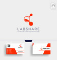 laboratory share technology logo template and vector image