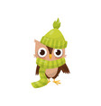 lovely little owlet wearing green knitted hat and vector image vector image