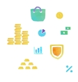 Lowpoly finance and money icons vector image vector image
