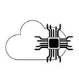 microchip and cloud computing in black and white vector image vector image