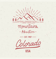 mountain adventure and colorado hand lettering vector image vector image