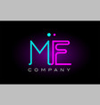neon lights alphabet me m e letter logo icon vector image