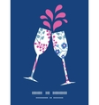 pink flowers toasting wine glasses vector image vector image