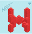 plastic blocs letter h vector image vector image
