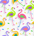 Retro 80s flamingo pattern background