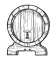 round wooden barrel freehand pencil drawing vector image vector image
