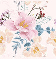 Seamless pattern with blooming herbs and tulips