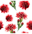 seamless pattern with watercolor carnation flowers vector image vector image