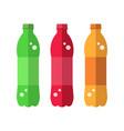 set bottle colorful soft drink bottle flat icon vector image vector image