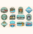 set fishing camping patch concept for vector image