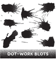 Set of black ink dotwork blots vector image vector image