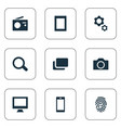 set simple hardware icons vector image