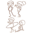 Simple sketches of the people going to the beach vector image