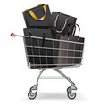 supermarket trolley with black shopping bags vector image