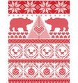 Tall xmas pattern with xmas tree polar bears vector image vector image