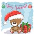 Teddy Bear in a Santa hat vector image vector image
