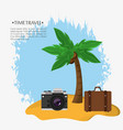 time travel beach suitcase photo camera vector image