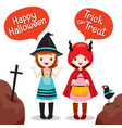two girls wearing halloween costume vector image