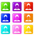 user icons 9 set vector image vector image