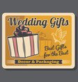 wedding gifts retro packaging decor and dove vector image vector image