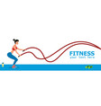 young female athlete exercising with battle ropes vector image vector image