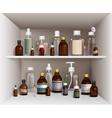 Medical Bottles On Shelves Set vector image