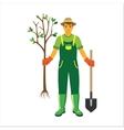 Gardener with trees flat vector image