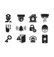 home security icon set 01 vector image