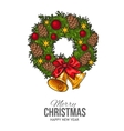 Green Christmas wreath with decorations greeting vector image