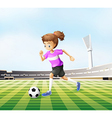 a young girl playing soccer at field vector image vector image