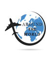 airplane with planet earth color vector image vector image