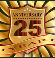 anniversary 25 th label with ribbon vector image vector image