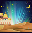 background scene arabian night with buildings vector image