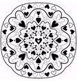 Black and white abstract Zentangle heart mandala vector image vector image