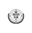 black circle badge for soocer club with shield and vector image vector image