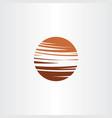 brown planet globe logo circle icon symbol vector image vector image