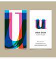 business card letter U vector image
