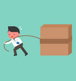 businessman work hard pulling block with rope vector image vector image