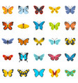 Butterfly icons set flat style