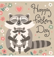 Card with cute raccoons to Fathers Day vector image vector image