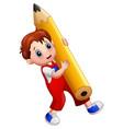 cartoon boy holding a big pencil vector image vector image