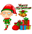Christmas card design with elf and mistletoes vector image vector image