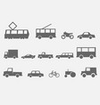 city transport simple monochrome icons side view vector image