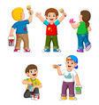 collection happy kids with paint brush vector image