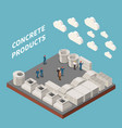 concrete cement production isometric concept vector image vector image