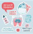 coronavirus prevention sticker set hand drawn vector image