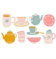 cute coffee or tea set design elements vector image