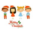 Cute kids and Christmas elements vector image